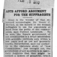 Page 149 : Ants Afford Argument For The Suffragist