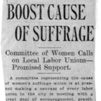 Page 050 : Boost Cause of Suffrage: Committee of Women Calls on Local Labor Unions - Promised Support