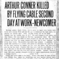 Page 040 : Arthur Conner Killed By Flying Cable Second Day At Work - Newcomer