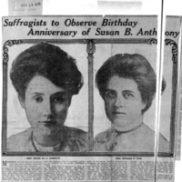 Page 146 : Suffragists to Observe Birthday Anniversary of Susan B. Anthony