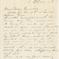 Letter from LaReine Baker to May Grinnell, 10/25/1908, page 1