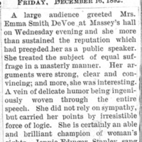 Page 052 : [news clipping: Review of Emma Smith DeVoe lecture at Massey's Hall]