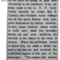 Page 148 : [news clipping: Women Applaud Lindsey's Address]