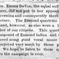 Page 42 : [news clipping: Emma Smith DeVoe no show]