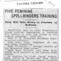 Page 138 : Five Feminine Spellbinders Training: They Will Take Stump in Interests of Suffrage