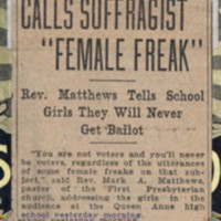 "Page 001 : Calls Suffragist ""Female Freak"""