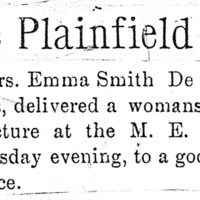 Page 076 : [news clipping: Review of Emma Smith DeVoe lecture at Plainfield]