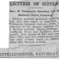 Page 143 : Lectures on Suffrage: Rev E. Tremayne Dunstan at the Ballard Club's Campaign