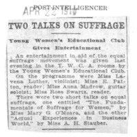 Page 101 : Two Talks on Suffrage: Young Women's Educational Club Gives Entertainment