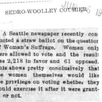 Page 183 : [Seattle Women Largely in Favor of Suffrage Based on Straw Ballot]