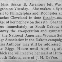 Page 28 : [news clipping: Susan B. Anthony travels]
