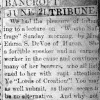 Page 42 : [news clipping: Emma Smith DeVoe in Bancroft]