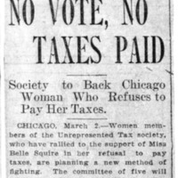 Page 007 : No Vote, No Taxes Paid: Society to Back Chicago Woman Who Refuses to Pay Her Taxes