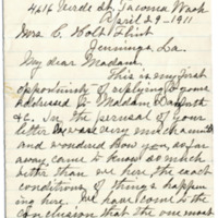 Letter from Abbie Danforth to C. Flint, 4/29/1911, page 1