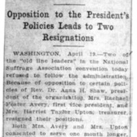 Page 094 : Insurgency in Suffrage Ranks: Opposition to the President's Policies Leads to Two Resignations