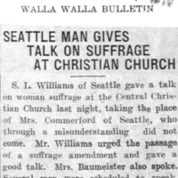 Page 129 : Seattle Man Gives Talk on Suffrage at Christian Church