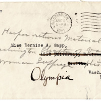Letter from Ida Harper to Cora Smith King, 1/12/1921, page 3 -- envelope
