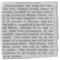 Page 057 : [Virginia Mason to be honored at reception]