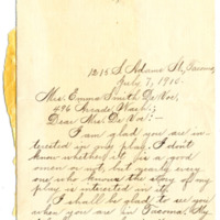 Letter from Eva Nelson to Emma Smith DeVoe, 7/7/1910, page 1
