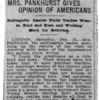 Page 099 : Mrs. Pankhurst Gives Opinion of Americans