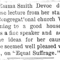 Page 033 : [news clipping: Emma Smith DeVoe delivers lecture at Congregational Church]