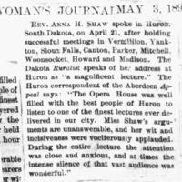 Page 35 : [news clipping: Anna Shaw at Huron]