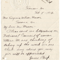 Letter from Amelia Handy to Virginia Mason, 2/8/1912, page 1