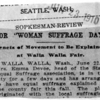 """Page 007 : For """"Woman Suffrage Day"""": Tenets of Movement to Be Explained at Walla Walla Fair"""