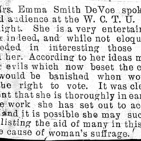 Page 033 : [news clipping: Emma Smith DeVoe speaks at WCTU hall]