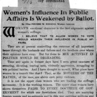 Page 009 : Women's Influence in Public Affairs is weakened by Ballot