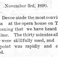 Page 050 : [news clipping: Review of Emma Smith DeVoe lecture at Opera House]