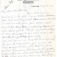 Letter from Etta Dailey to Emma Smith DeVoe, 8/28/1911, page 1