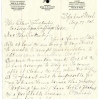 Letter from Lena Allen to Ellen Leckenby, 8/27/1908, page 1
