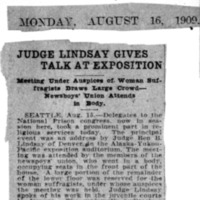 Page 141 : Judge Lindsay Gives Talk at Exposition