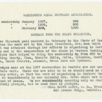 Message from Cora Smith Eaton to Washington Equal Suffrage Association, page 1