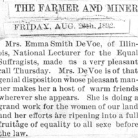 "Page 037 : [news clipping: DeVoe makes ""a very pleasant"" call to The Farmer and Miner]"