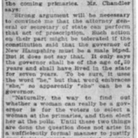 Page 111 : A Woman Governor: New Hampshire Law Does Not Exclude Sex From Office