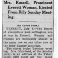 Page 038 : Suffragists at War With Evangelists: Mrs. Russell, Prominent Everett Woman, Ejected from Billy Sunday Meeting