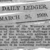 Page 127 : [news clipping: DeVoe Speaks at Woman's Club]