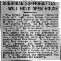 Page 096 : Suburban Suffragettes Will Hold Open House