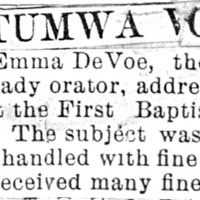 Page 007 : [news clipping: Review of Emma Smith DeVoe lecture at Ottumwa, Iowa]