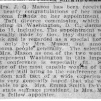 Page 108 : [Mrs. J.Q. Mason appointed to Taft Divorce Commission]