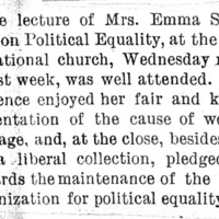 Page 033 : [news clipping: Review of Emma Smith DeVoe political equality lecture]